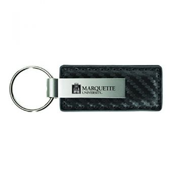 Marquette University-Carbon Fiber Leather and Metal Key Tag-Grey