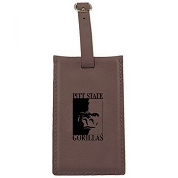 Pittsburg State University -Leatherette Luggage Tag-Brown