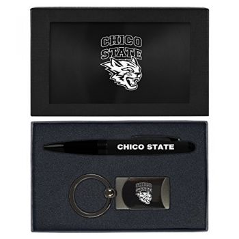California State University, Chico-Executive Twist Action Ballpoint Pen Stylus and Gunmetal Key Tag Gift Set-Black