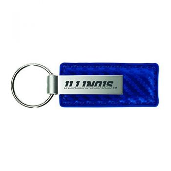 University of Illinois-Carbon Fiber Leather and Metal Key Tag-Blue