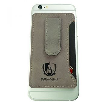 Buffalo State University - The State University of New York -Leatherette Cell Phone Card Holder-Tan