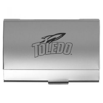 University of Toledo - Two-Tone Business Card Holder - Silver