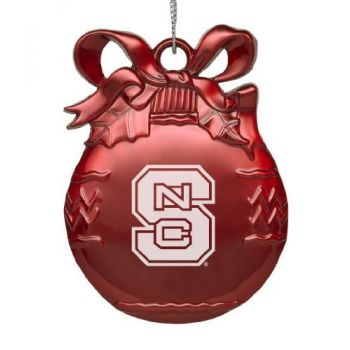 North Carolina State University - Pewter Christmas Tree Ornament - Red