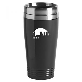 Tulsa, Oklahoma-Travel Mug Tumbler-Black