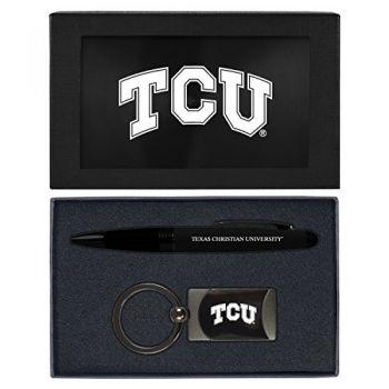 Texas Christian University -Executive Twist Action Ballpoint Pen Stylus and Gunmetal Key Tag Gift Set-Black
