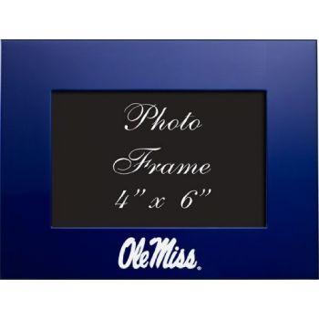 University of Mississippi - 4x6 Brushed Metal Picture Frame - Blue