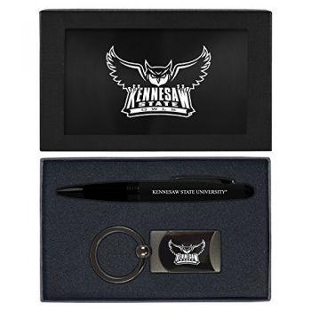 Kennesaw State University -Executive Twist Action Ballpoint Pen Stylus and Gunmetal Key Tag Gift Set-Black