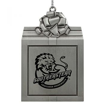 Southeastern Louisiana University -Pewter Christmas Holiday Present Ornament-Silver
