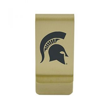 University of Michigan|Money Clip with Contemporary Metals Finish|Solid Brass|High Tension Clip to Securely Hold Cash, Cards and ID's|Silver