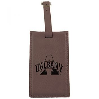 University of Albany-Leatherette Luggage Tag-Brown