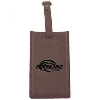 Pepperdine university -Leatherette Luggage Tag-Brown