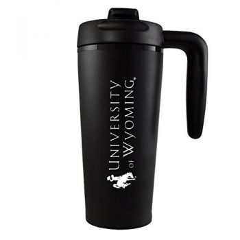 University of Wyoming -16 oz. Travel Mug Tumbler with Handle-Black