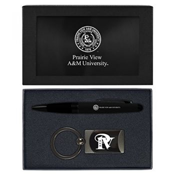 Prairie View A&M University -Executive Twist Action Ballpoint Pen Stylus and Gunmetal Key Tag Gift Set-Black