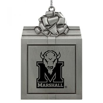 Marshall University -Pewter Christmas Holiday Present Ornament-Silver