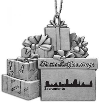 Pewter Gift Display Christmas Tree Ornament - Sacramento City Skyline