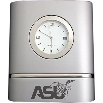 Alabama State University- Two-Toned Desk Clock -Silver