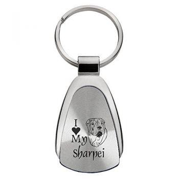 Teardrop Shaped Keychain Fob  - I Love My Sharpei