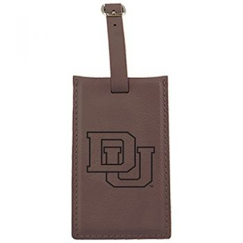 University of Denver-Leatherette Luggage Tag-Brown