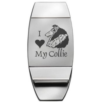 Stainless Steel Money Clip  - I Love My Collie
