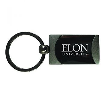 Elon University -Two-Toned Gun Metal Key Tag-Gunmetal
