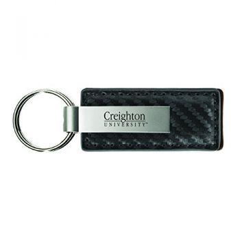 Creighton University-Carbon Fiber Leather and Metal Key Tag-Grey