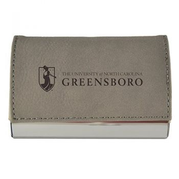 Velour Business Cardholder-University of North Carolina at Greensboro-Grey
