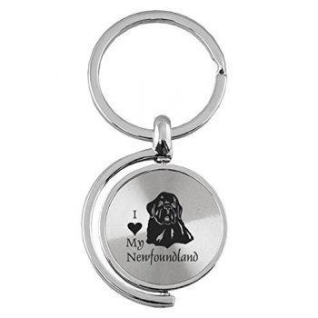 Spinner Round Keychain  - I Love My Newfoundland Dog