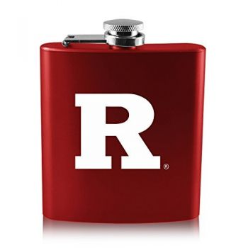 Rutgers University -6 oz. Color Stainless Steel Flask-Red