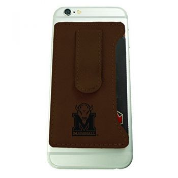 Marshall University -Leatherette Cell Phone Card Holder-Brown