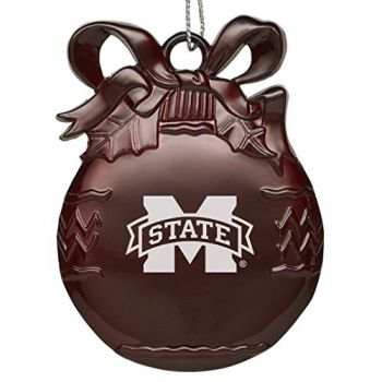 Mississippi State Univerty - Pewter Christmas Tree Ornament - Burgundy