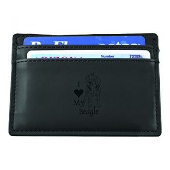 Slim Wallet with Money Clip  - I Love My Beagle