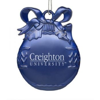 Creighton University - Pewter Christmas Tree Ornament - Blue