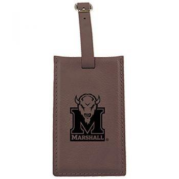 Marshall University -Leatherette Luggage Tag-Brown