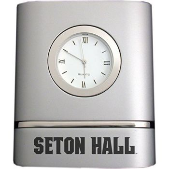 Seton Hall University- Two-Toned Desk Clock -Silver