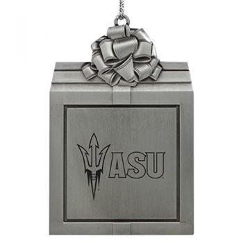 ASU Sun Devils -Pewter Christmas Holiday Present Ornament-Silver