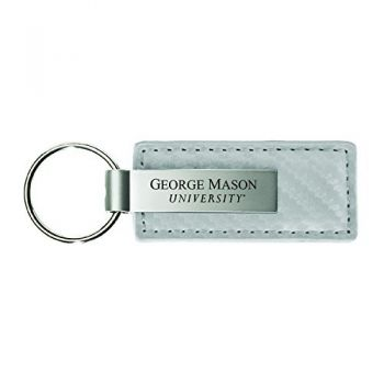 George Mason University-Carbon Fiber Leather and Metal Key Tag-White