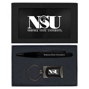 Norfolk State University -Executive Twist Action Ballpoint Pen Stylus and Gunmetal Key Tag Gift Set-Black