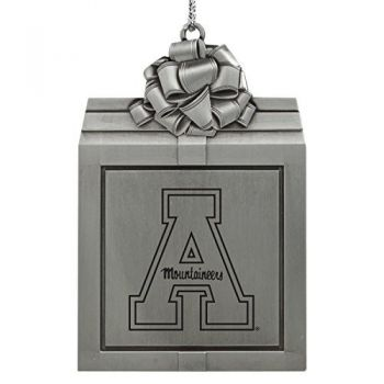 Appalachian State University -Pewter Christmas Holiday Present Ornament-Silver