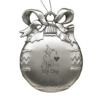 Solid Pewter Christmas Ornament - I Love My Dog