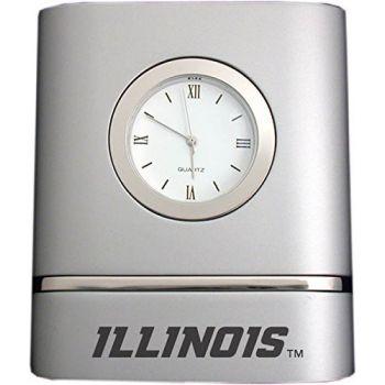 University of Illinois at Urbana–Champaign- Two-Toned Desk Clock -Silver