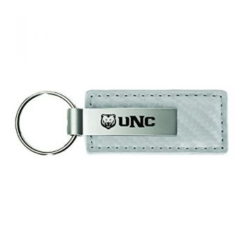 University of Northern Colorado-Carbon Fiber Leather and Metal Key Tag-Grey