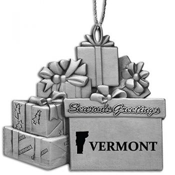 Vermont-State Outline-Pewter Gift Package Ornament-Silver