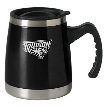 Towson University - 16-ounce Squat Travel Mug Tumbler - Black