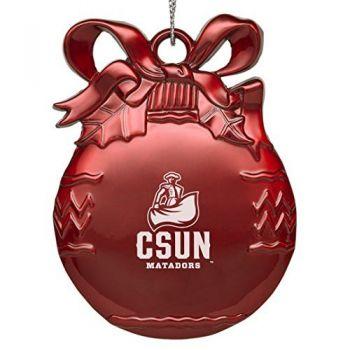 Cal State University Northridge - Pewter Christmas Tree Ornament - Red