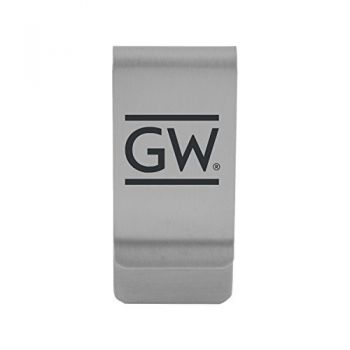 George Washington University |Money Clip with Contemporary Metals Finish|Solid Brass|High Tension Clip to Securely Hold Cash, Cards and ID's|Gold