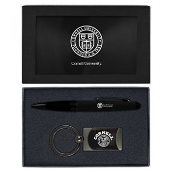 Cornell University-Executive Twist Action Ballpoint Pen Stylus and Gunmetal Key Tag Gift Set-Black