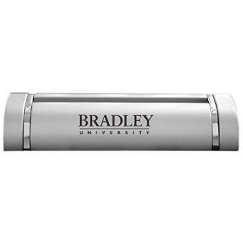 Bradley University-Desk Business Card Holder -Silver