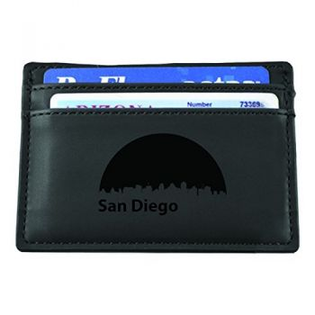 Slim Wallet with Money Clip - San Diego City Skyline