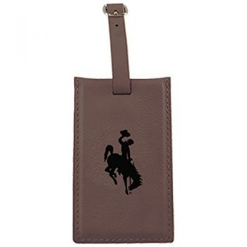University of Wyoming -Leatherette Luggage Tag-Brown