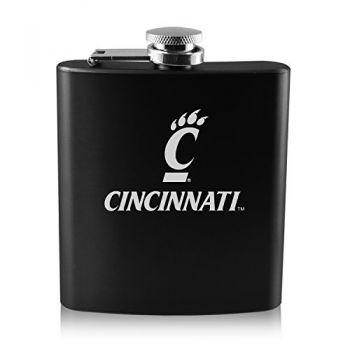 University of Cincinnati -6 oz. Color Stainless Steel Flask-Black